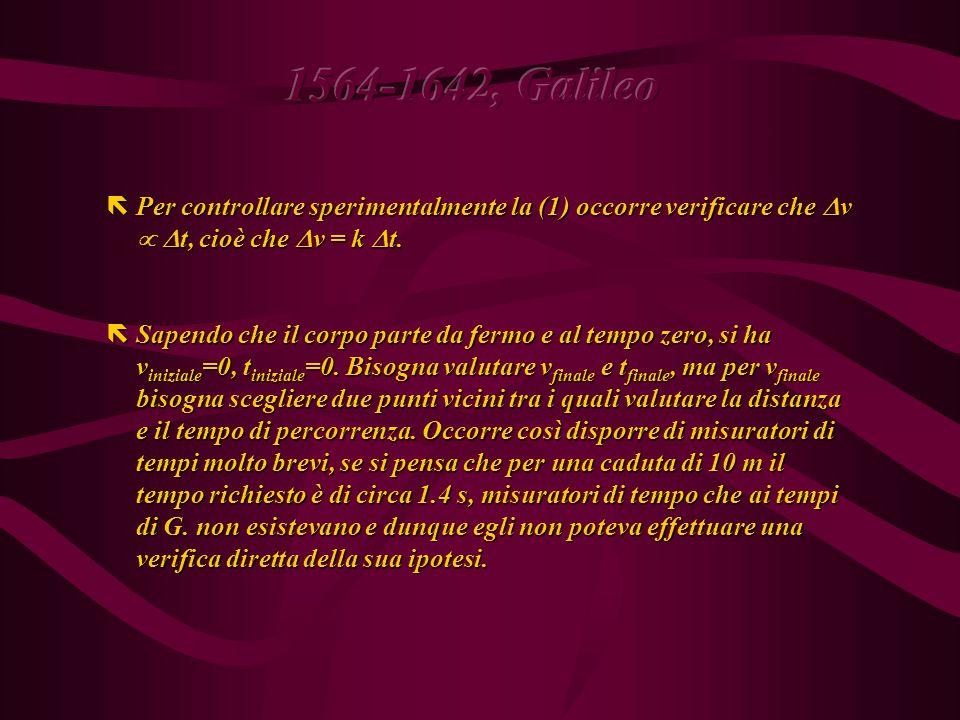 Nei Discorsi Galileo corregge l errore e fa la nuova ipotesi: che sia a  t (K137), partendo da due affermazioni: Nei Discorsi Galileo corregge l errore e fa la nuova ipotesi: che sia a  t (K137), partendo da due affermazioni: (1) La caduta dei corpi avviene con accelerazione costante; (1) La caduta dei corpi avviene con accelerazione costante; (2) (definizione) Accelerazione costante significa uguali  v in uguali  t.