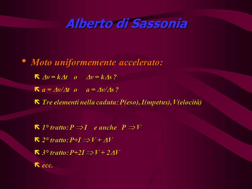 Alberto di Sassonia Moto uniformemente accelerato: Moto uniformemente accelerato: ë  v = k  t o  v = k  s .