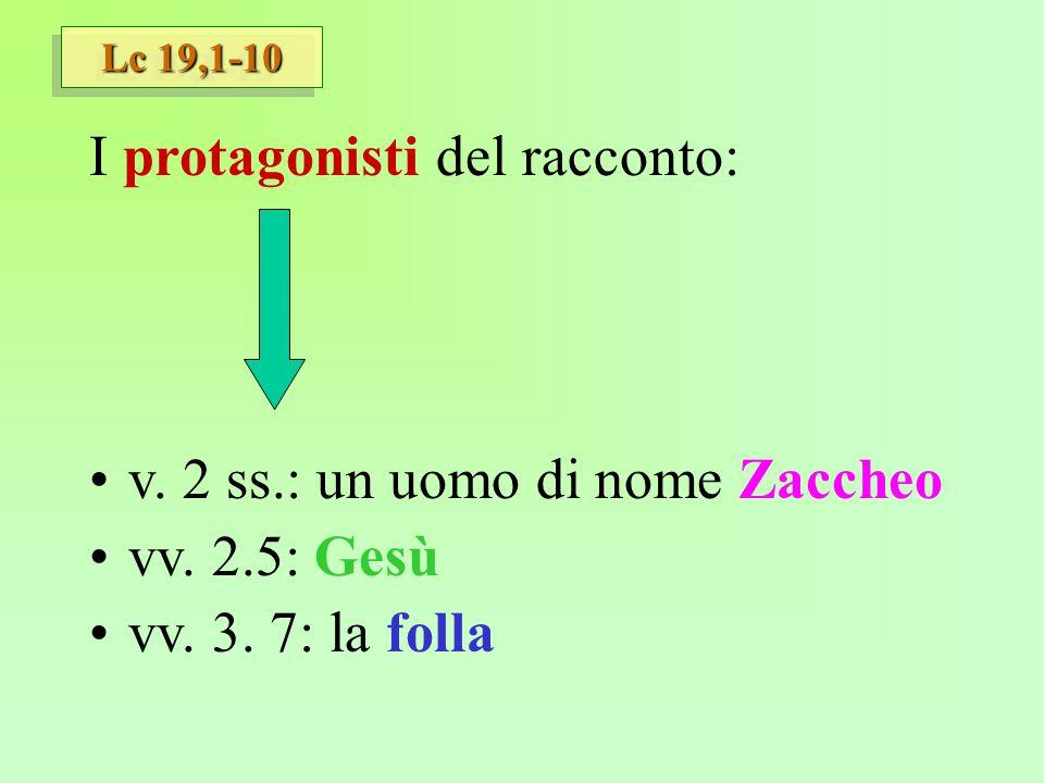 Lc 19,1-10 I protagonisti del racconto: v. 2 ss.: un uomo di nome Zaccheo vv. 2.5: Gesù vv. 3. 7: la folla