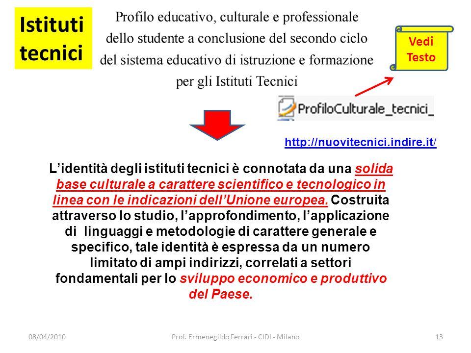 08/04/2010Prof. Ermenegildo Ferrari - CIDI - Milano13 L'identità degli istituti tecnici è connotata da una solida base culturale a carattere scientifi