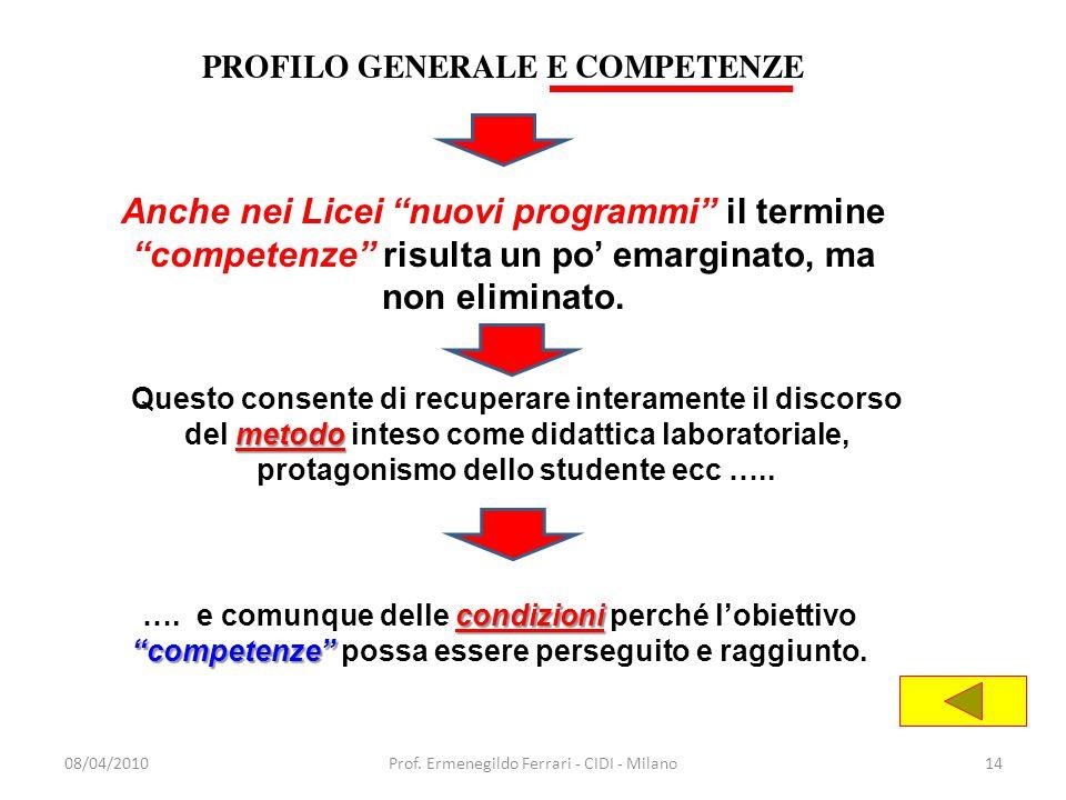 """08/04/2010Prof. Ermenegildo Ferrari - CIDI - Milano14 Anche nei Licei """"nuovi programmi"""" il termine """"competenze"""" risulta un po' emarginato, ma non elim"""