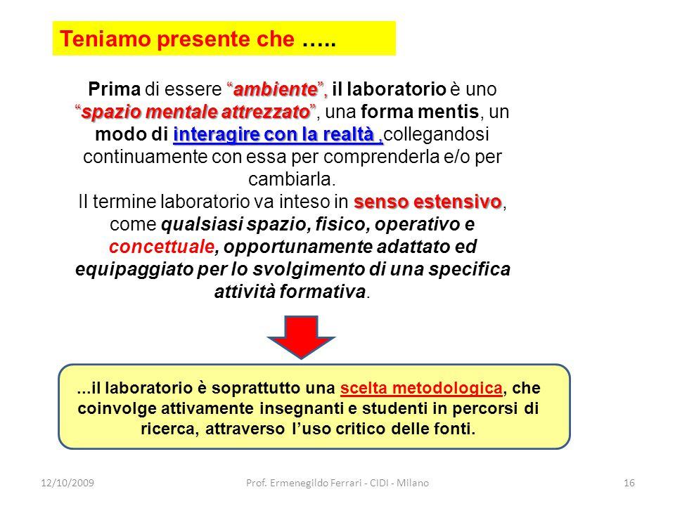 """12/10/2009Prof. Ermenegildo Ferrari - CIDI - Milano16 """"ambiente"""", """"spazio mentale attrezzato"""" interagire con la realtà, Prima di essere """"ambiente"""", il"""