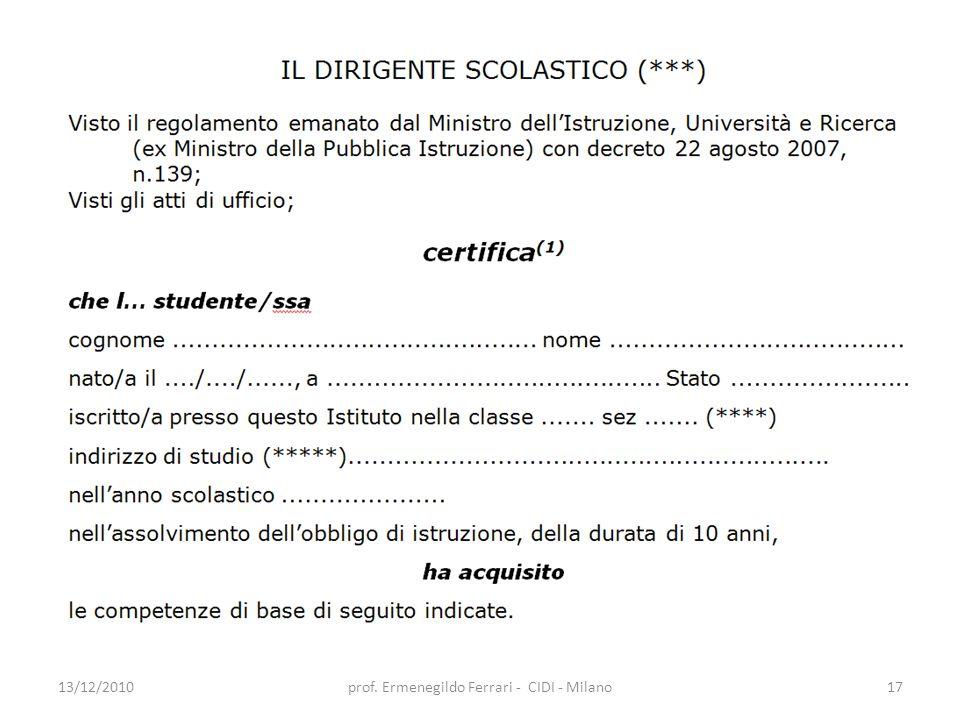 13/12/2010prof. Ermenegildo Ferrari - CIDI - Milano17