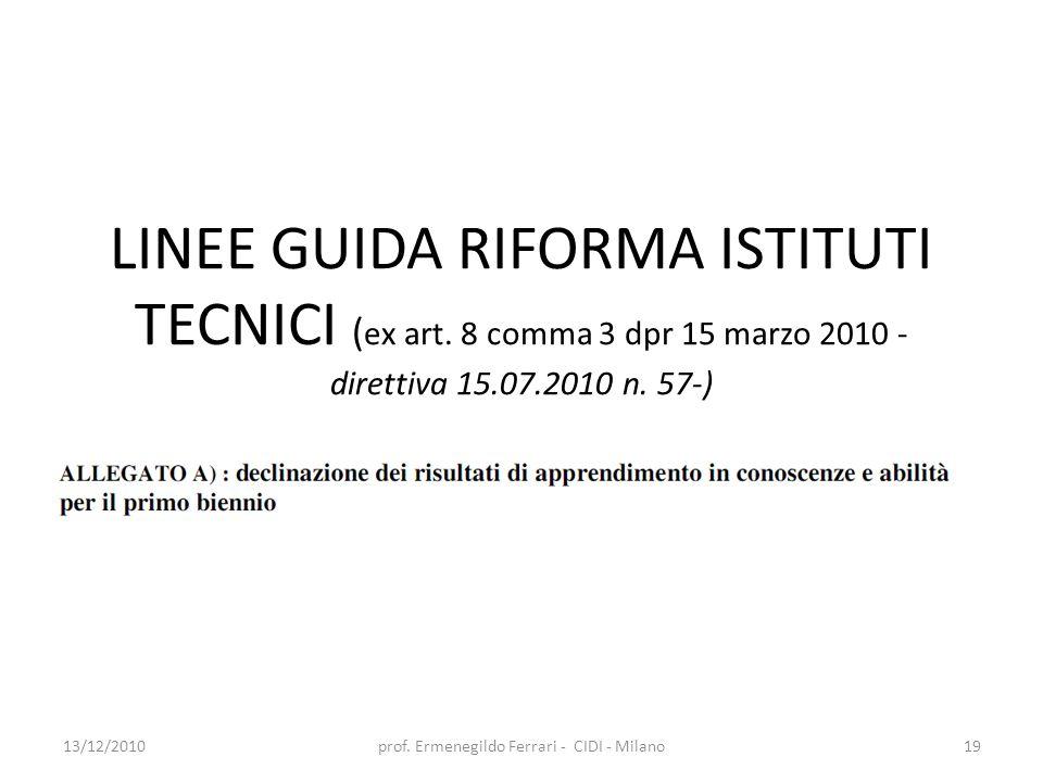 LINEE GUIDA RIFORMA ISTITUTI TECNICI ( ex art. 8 comma 3 dpr 15 marzo 2010 - direttiva 15.07.2010 n. 57-) 13/12/2010prof. Ermenegildo Ferrari - CIDI -