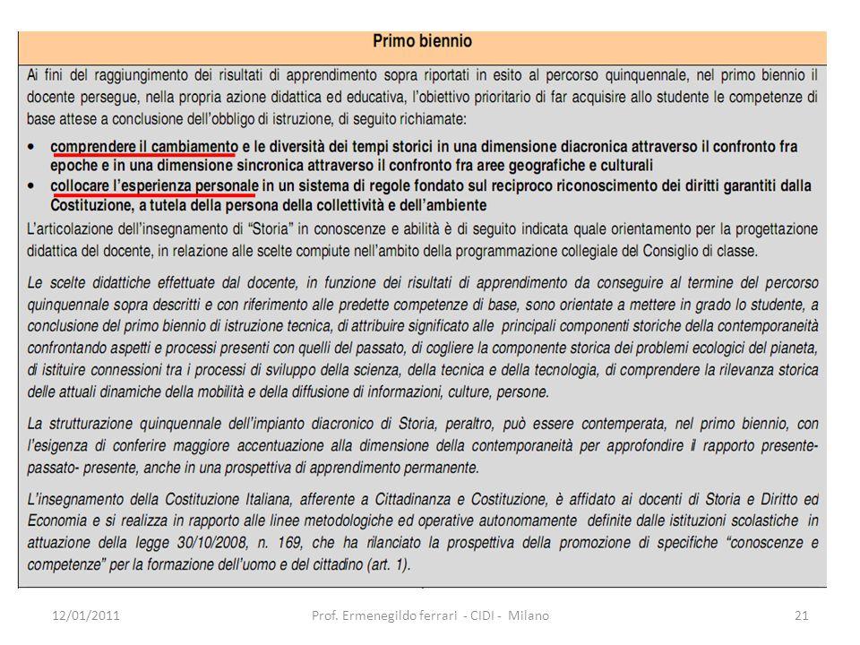 12/01/201121Prof. Ermenegildo ferrari - CIDI - Milano
