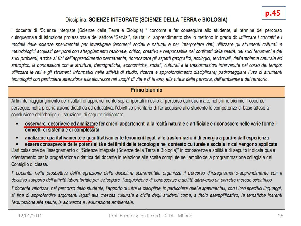 12/01/201125Prof. Ermenegildo ferrari - CIDI - Milano p.45