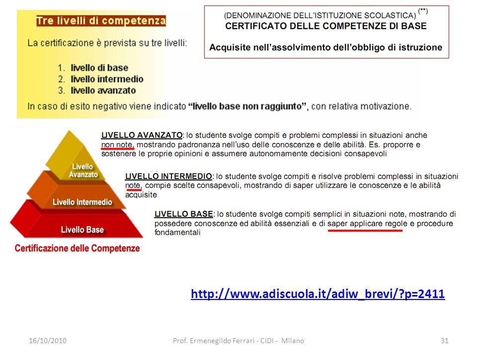 http://www.adiscuola.it/adiw_brevi/ p=2411 16/10/201031Prof. Ermenegildo Ferrari - CIDI - Milano