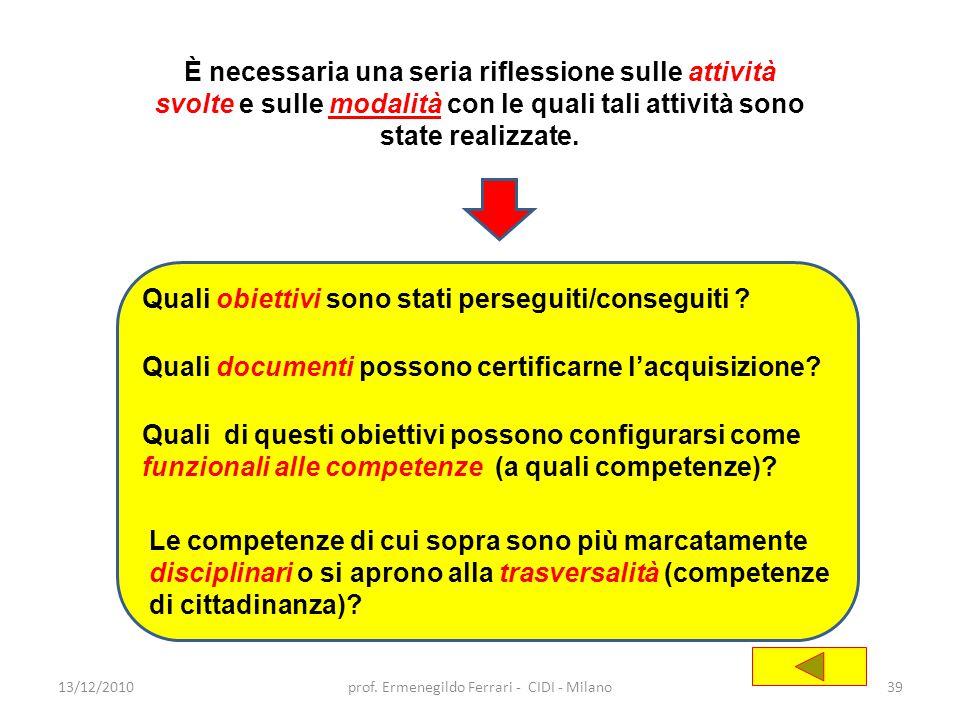13/12/201039prof. Ermenegildo Ferrari - CIDI - Milano È necessaria una seria riflessione sulle attività svolte e sulle modalità con le quali tali atti