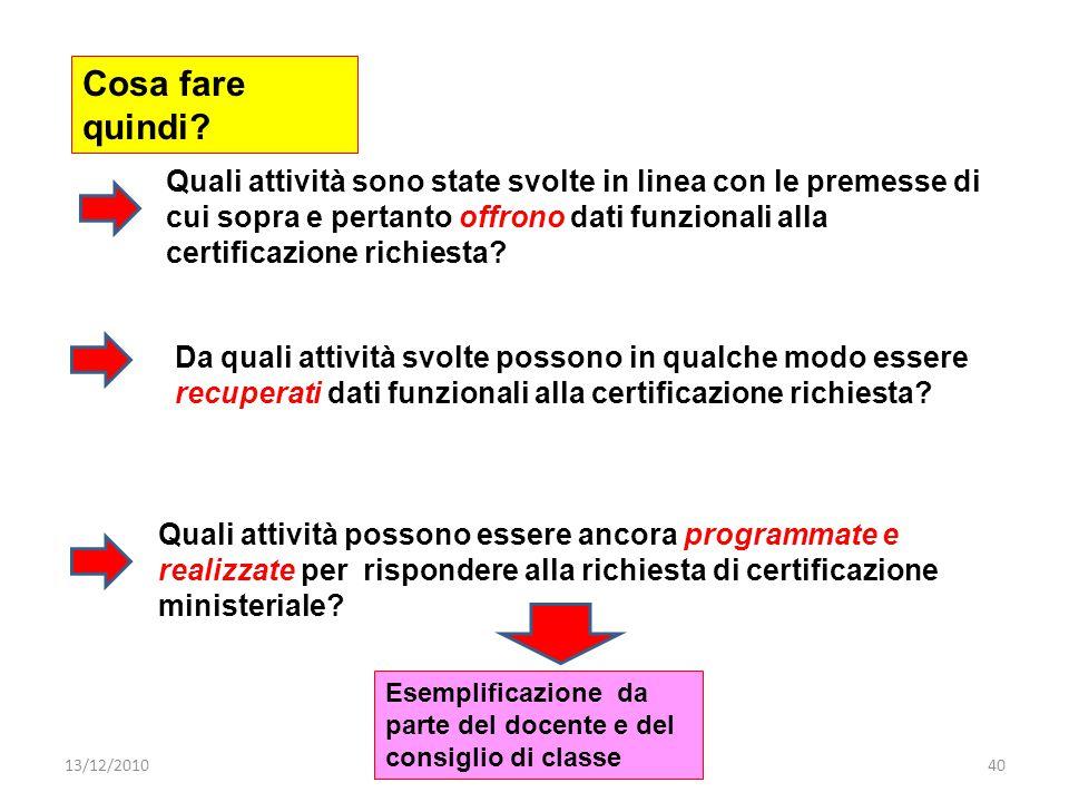 13/12/2010prof. Ermenegildo Ferrari - CIDI - Milano40 Cosa fare quindi.