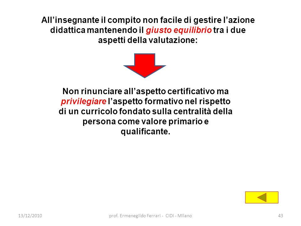 13/12/2010prof. Ermenegildo Ferrari - CIDI - Milano43 All'insegnante il compito non facile di gestire l'azione didattica mantenendo il giusto equilibr