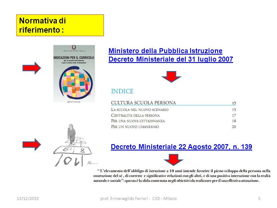 13/12/2010prof. Ermenegildo Ferrari - CIDI - Milano5 Normativa di riferimento : Ministero della Pubblica Istruzione Decreto Ministeriale del 31 luglio