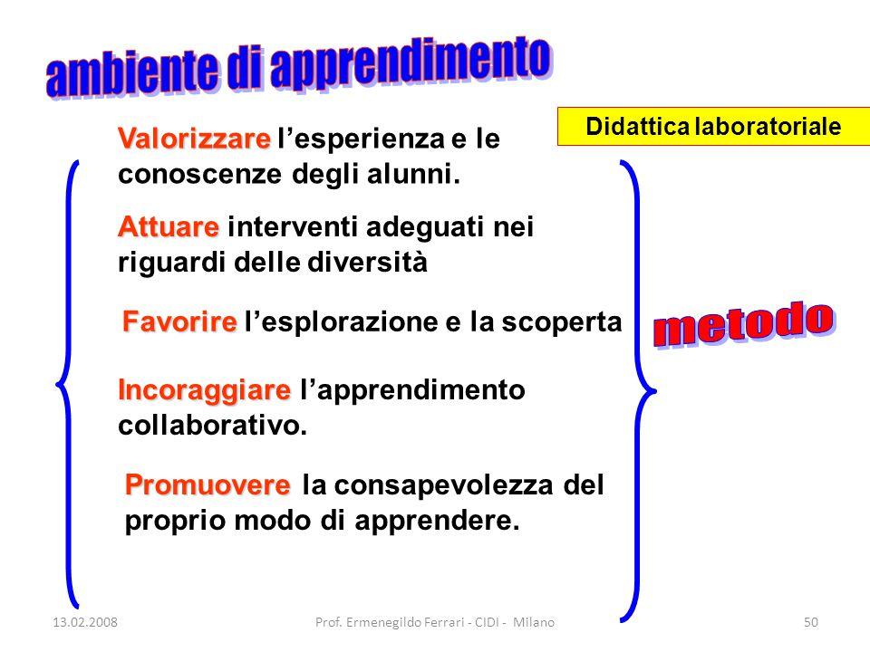 13.02.2008Prof. Ermenegildo Ferrari - CIDI - Milano50 Valorizzare Valorizzare l'esperienza e le conoscenze degli alunni. Attuare Attuare interventi ad