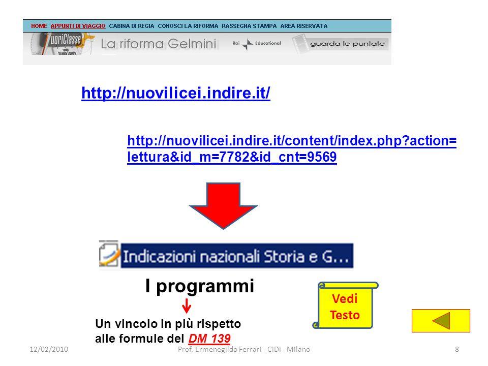 12/02/2010Prof. Ermenegildo Ferrari - CIDI - Milano8 http://nuovilicei.indire.it/ http://nuovilicei.indire.it/content/index.php?action= lettura&id_m=7