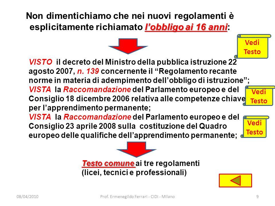 12/01/201120Prof. Ermenegildo ferrari - CIDI - Milano Istituti tecnici