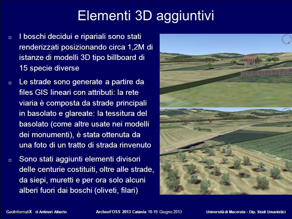 GeoInformatiX GeoInformatiX di Antinori Alberto ArcheoFOSS 2013 Catania 18-19 Giugno 2013 Università di Macerata – Dip. Studi Umanistici Elementi 3D a