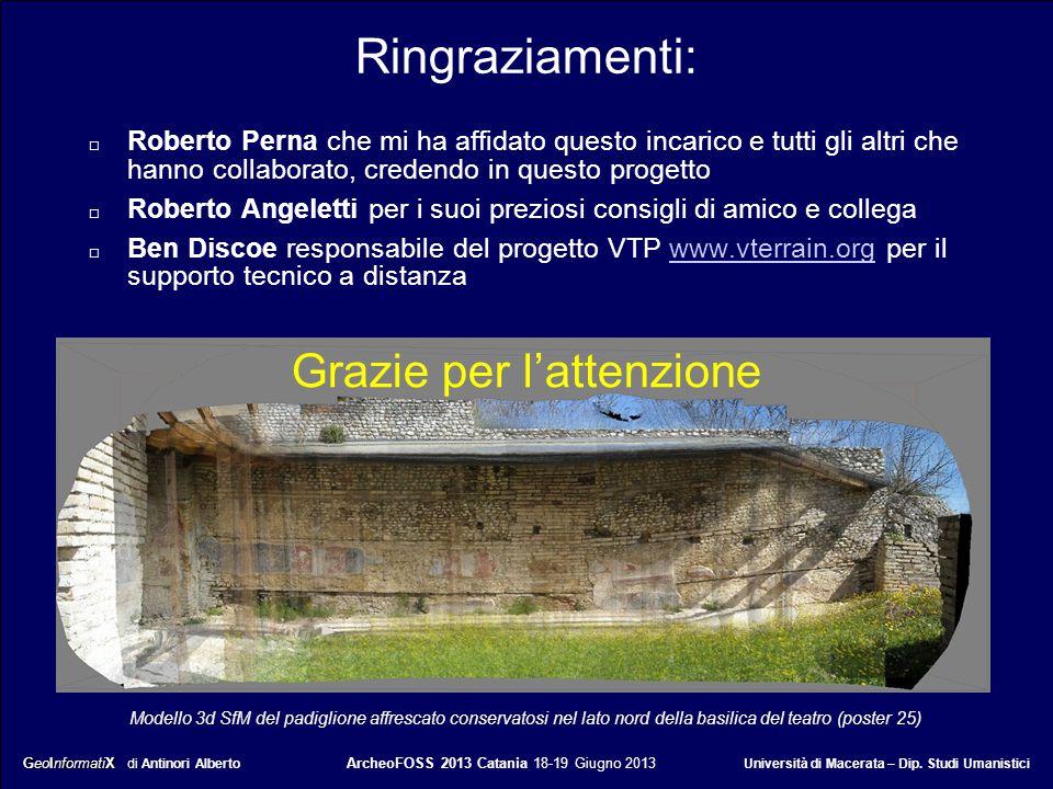 GeoInformatiX GeoInformatiX di Antinori Alberto ArcheoFOSS 2013 Catania 18-19 Giugno 2013 Università di Macerata – Dip. Studi Umanistici Ringraziament