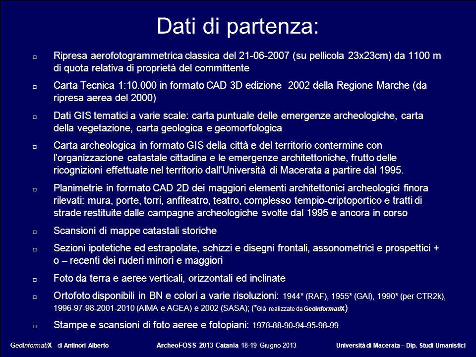 GeoInformatiX GeoInformatiX di Antinori Alberto ArcheoFOSS 2013 Catania 18-19 Giugno 2013 Università di Macerata – Dip. Studi Umanistici Dati di parte