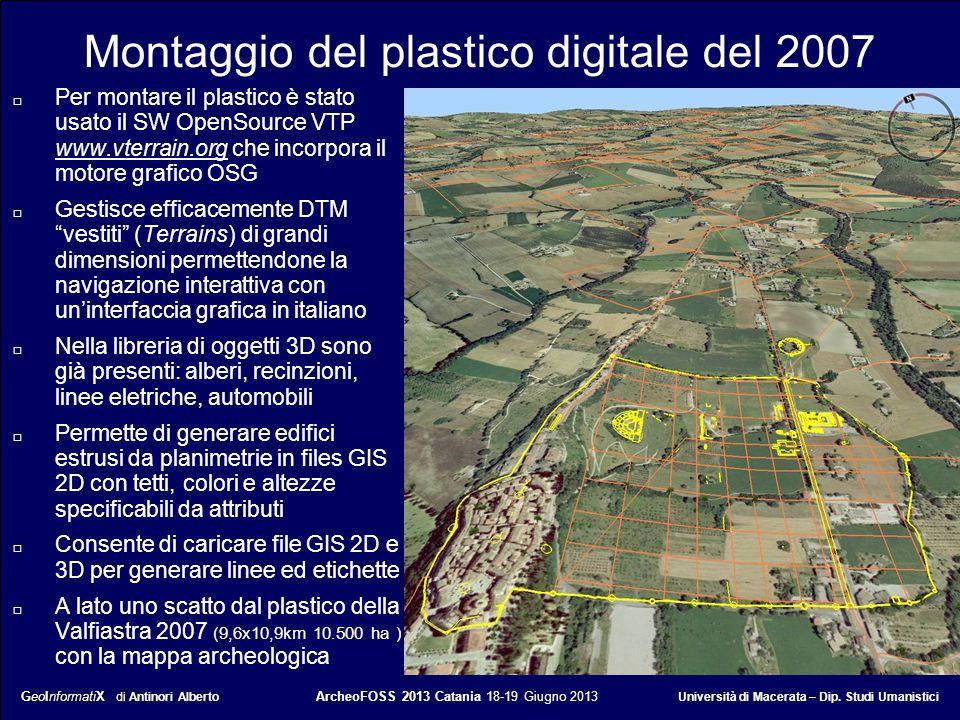 GeoInformatiX GeoInformatiX di Antinori Alberto ArcheoFOSS 2013 Catania 18-19 Giugno 2013 Università di Macerata – Dip. Studi Umanistici Montaggio del