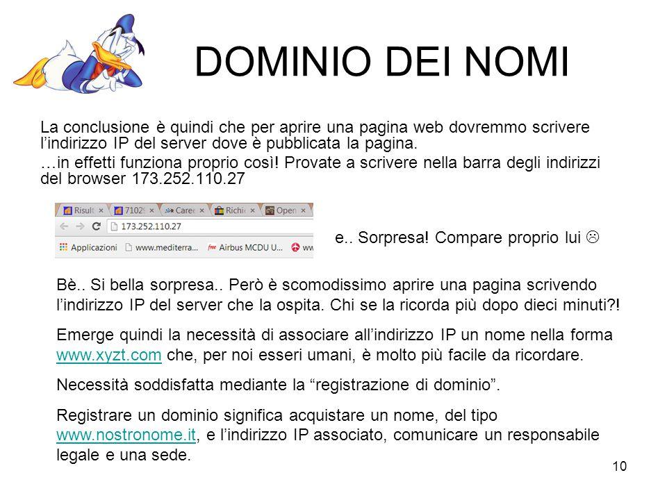 10 DOMINIO DEI NOMI La conclusione è quindi che per aprire una pagina web dovremmo scrivere l'indirizzo IP del server dove è pubblicata la pagina.