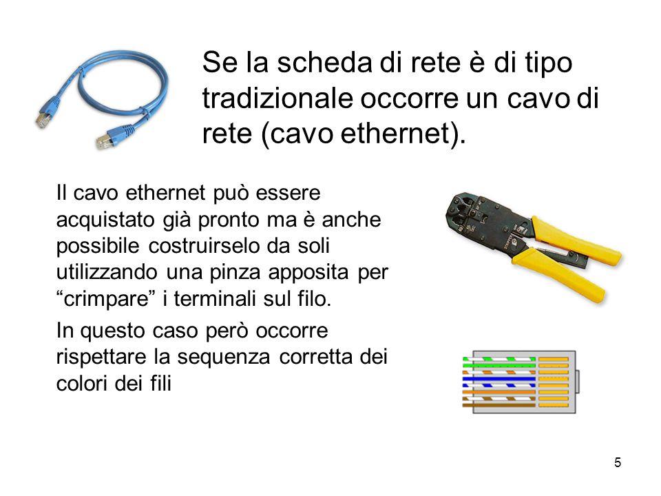 5 Se la scheda di rete è di tipo tradizionale occorre un cavo di rete (cavo ethernet).