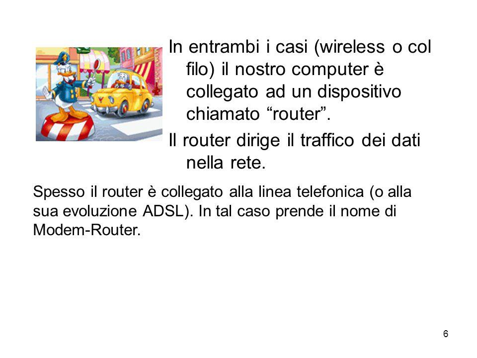 6 In entrambi i casi (wireless o col filo) il nostro computer è collegato ad un dispositivo chiamato router .