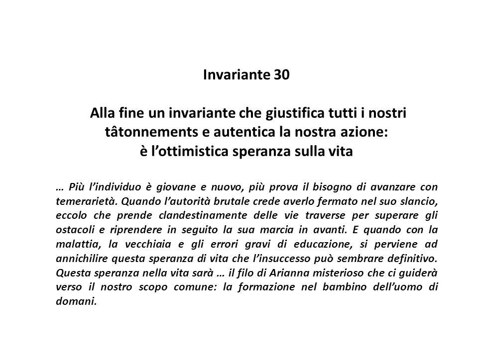 Invariante 30 Alla fine un invariante che giustifica tutti i nostri tâtonnements e autentica la nostra azione: è l'ottimistica speranza sulla vita … P