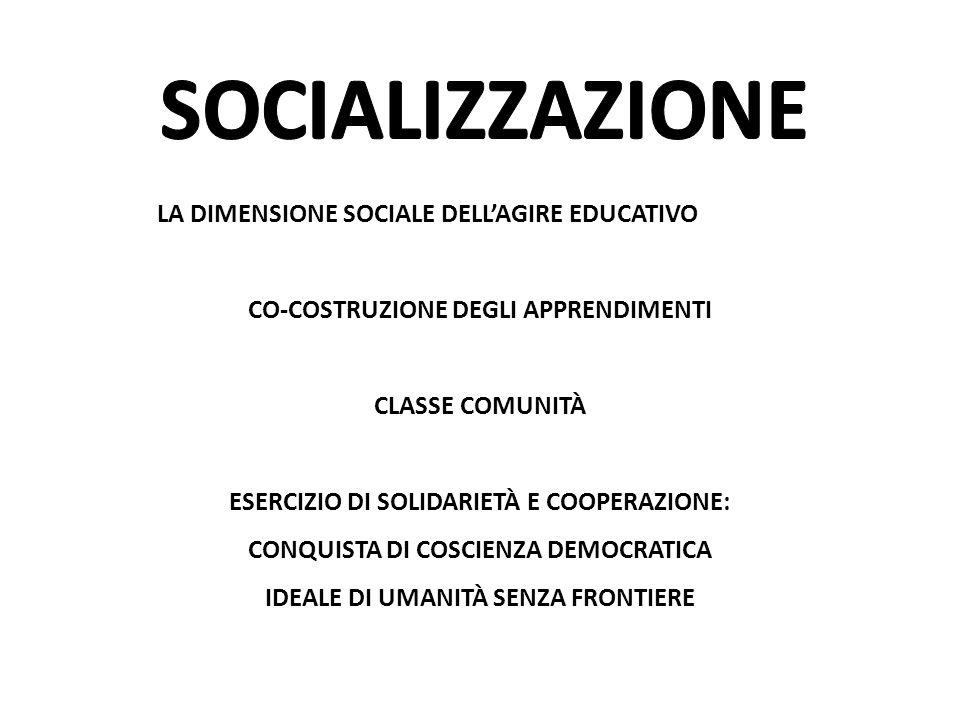 LA DIMENSIONE SOCIALE DELL'AGIRE EDUCATIVO CO-COSTRUZIONE DEGLI APPRENDIMENTI CLASSE COMUNITÀ ESERCIZIO DI SOLIDARIETÀ E COOPERAZIONE: CONQUISTA DI CO