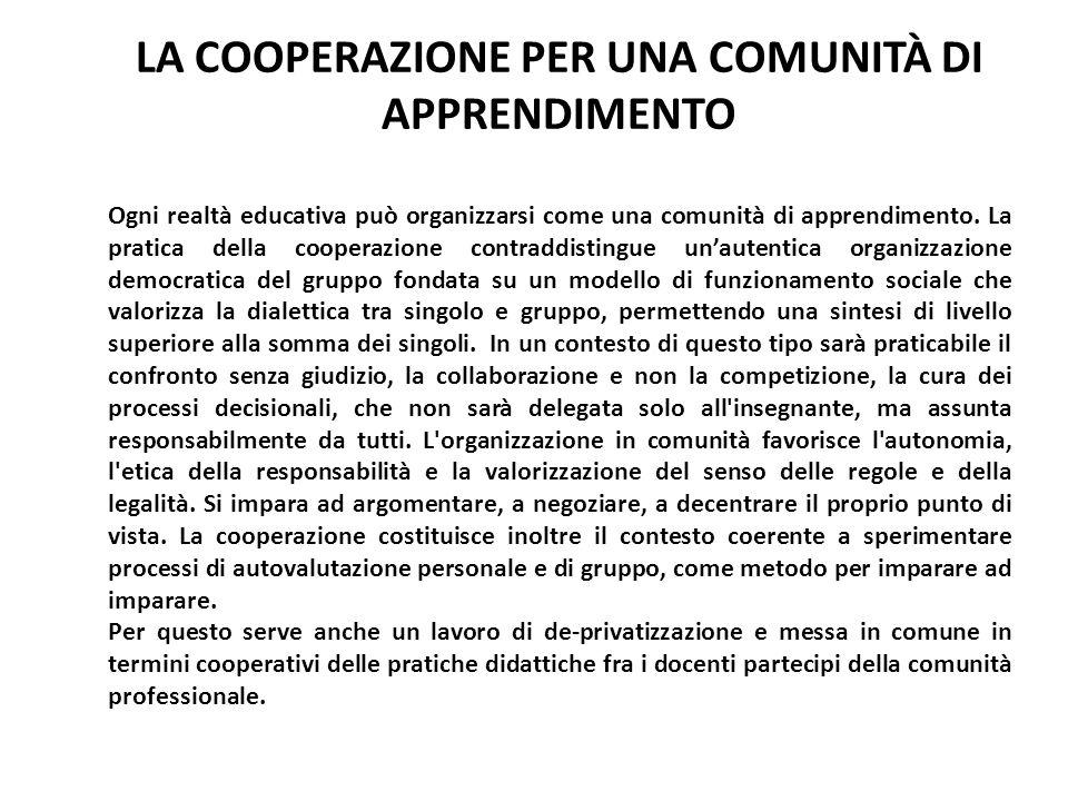 LA COOPERAZIONE PER UNA COMUNITÀ DI APPRENDIMENTO Ogni realtà educativa può organizzarsi come una comunità di apprendimento. La pratica della cooperaz