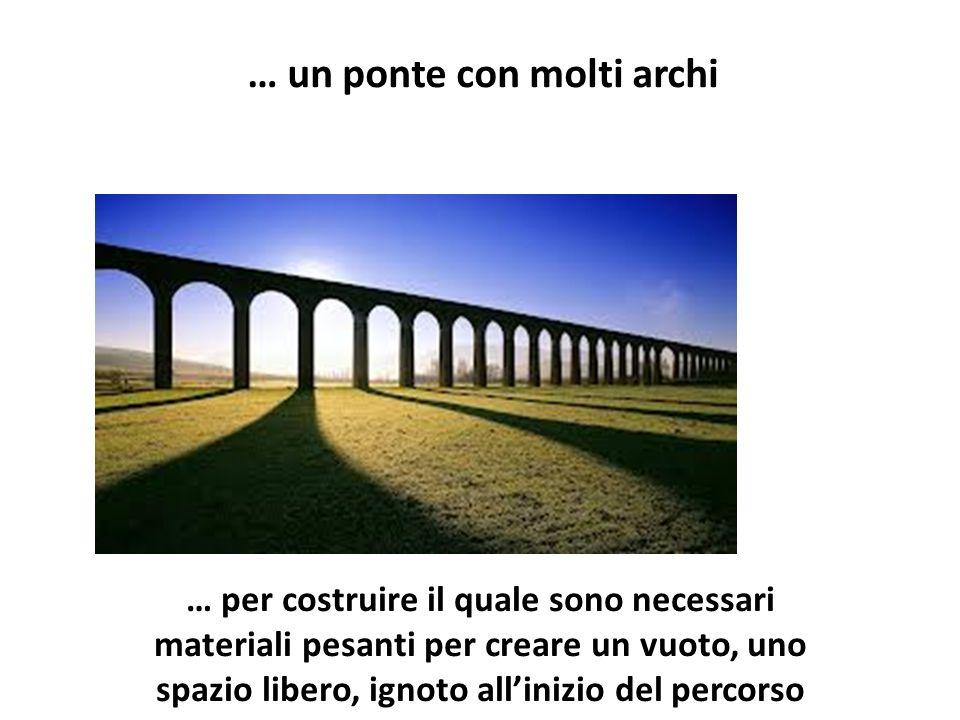 … per costruire il quale sono necessari materiali pesanti per creare un vuoto, uno spazio libero, ignoto all'inizio del percorso … un ponte con molti