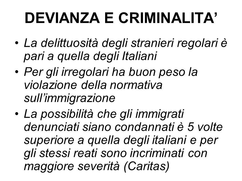 DEVIANZA E CRIMINALITA' La delittuosità degli stranieri regolari è pari a quella degli Italiani Per gli irregolari ha buon peso la violazione della normativa sull'immigrazione La possibilità che gli immigrati denunciati siano condannati è 5 volte superiore a quella degli italiani e per gli stessi reati sono incriminati con maggiore severità (Caritas)