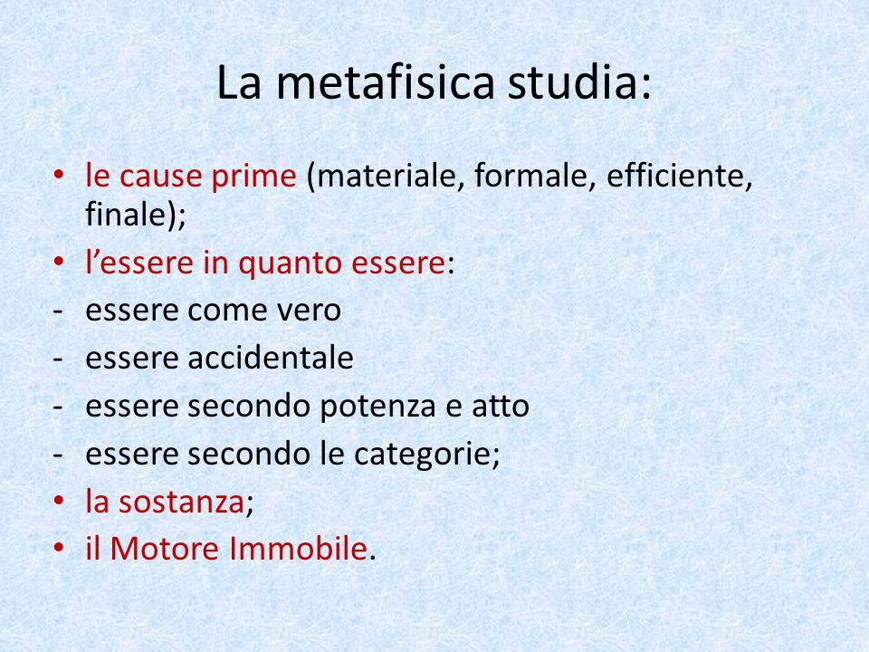 La metafisica studia: le cause prime (materiale, formale, efficiente, finale); l'essere in quanto essere: -essere come vero -essere accidentale -esser