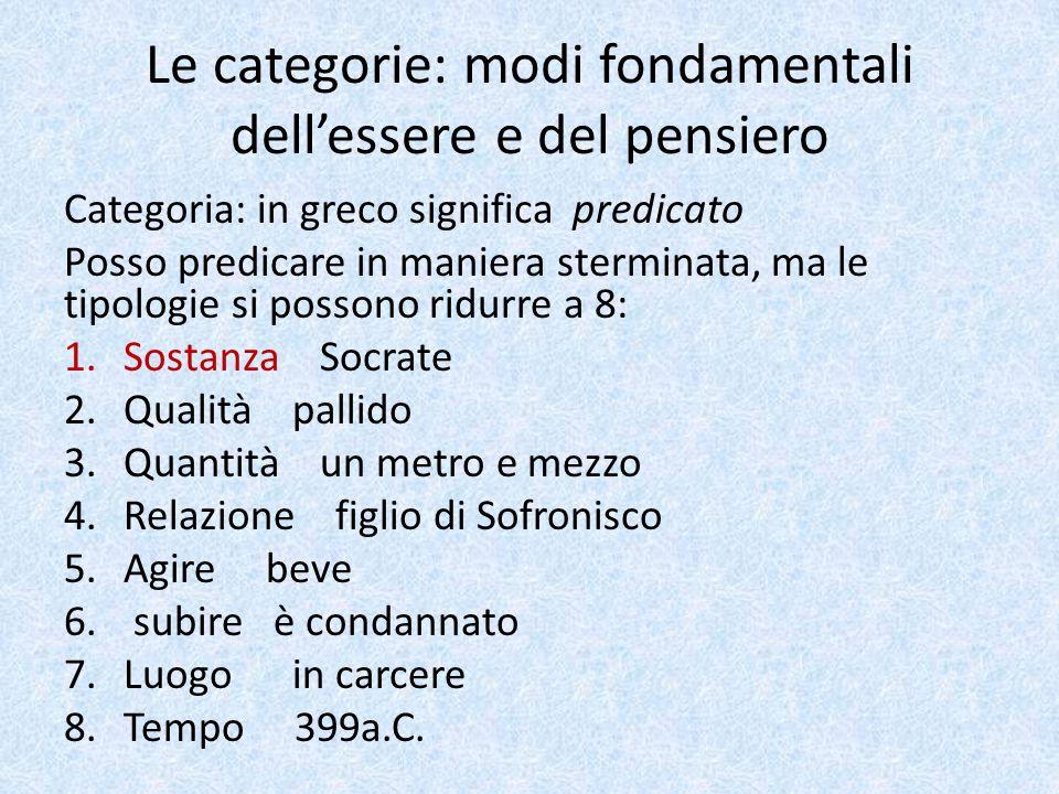 Le categorie Sostanza  è la più importante delle categorie Le altre categorie si riferiscono alla sostanza, la presuppongono.