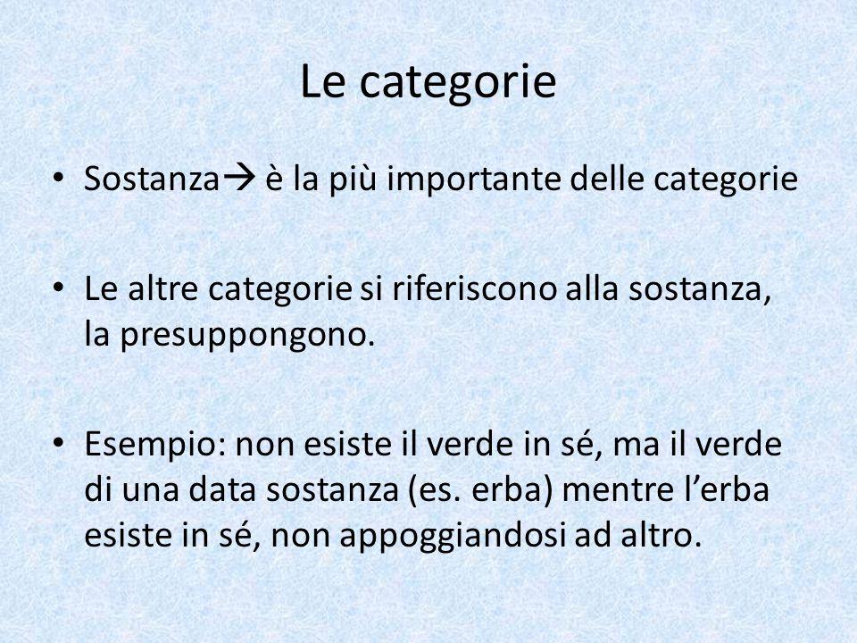 Le categorie Sostanza  è la più importante delle categorie Le altre categorie si riferiscono alla sostanza, la presuppongono. Esempio: non esiste il