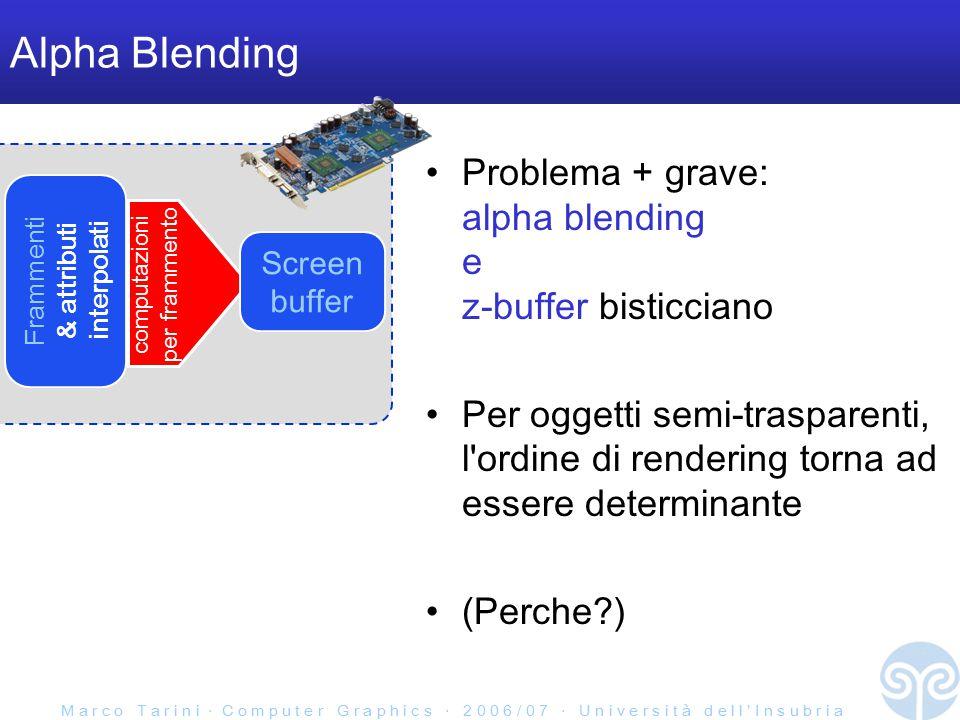 M a r c o T a r i n i ‧ C o m p u t e r G r a p h i c s ‧ 2 0 0 6 / 0 7 ‧ U n i v e r s i t à d e l l ' I n s u b r i a Screen buffer Alpha Blending Posso avere 4 componenti anche nello screen buffer –nel caso, posso usare l alpha dello screen buffer invece-che / oltre-a quello del frammento Frammenti & attributi interpolati componenti R G B componente  computazioni per frammento alpha dello screen buffer = alpha di destinazione alpha del frammento = alpha sorgente