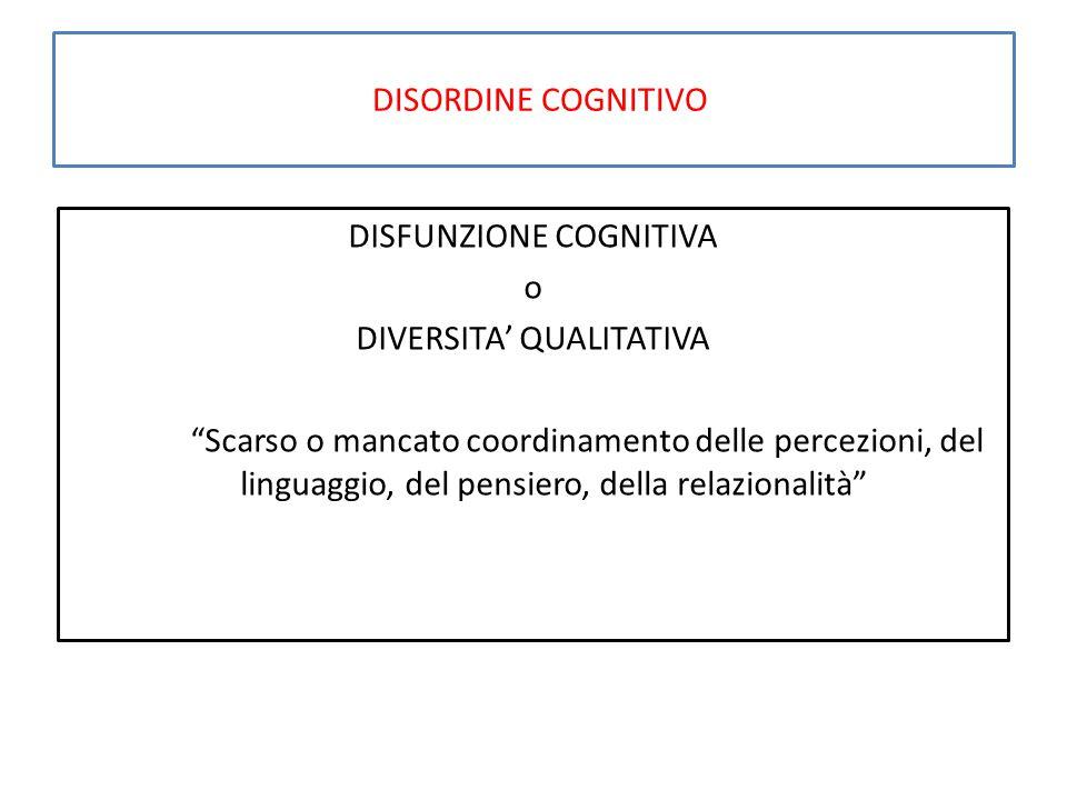 """DISORDINE COGNITIVO DISFUNZIONE COGNITIVA o DIVERSITA' QUALITATIVA """"Scarso o mancato coordinamento delle percezioni, del linguaggio, del pensiero, del"""