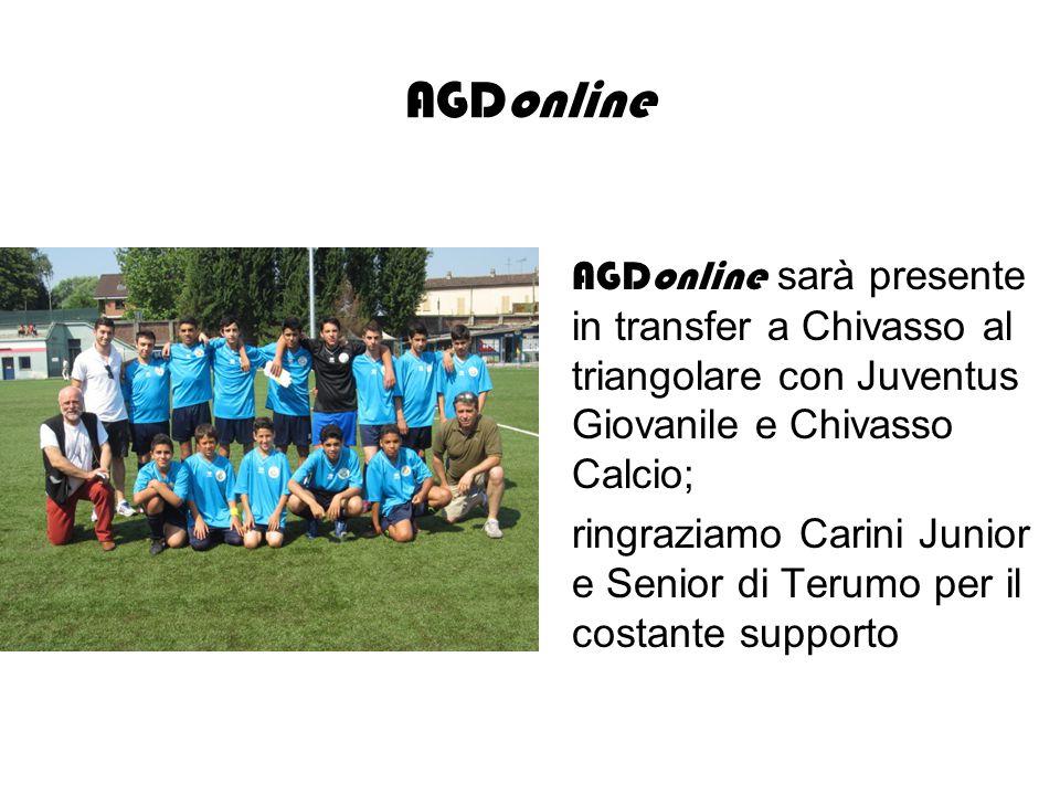 AGDonline AGDonline sarà presente in transfer a Chivasso al triangolare con Juventus Giovanile e Chivasso Calcio; ringraziamo Carini Junior e Senior di Terumo per il costante supporto