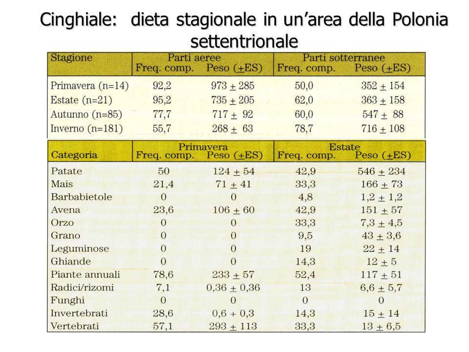 da Massei e Genov Cinghiale: dieta stagionale in un'area della Polonia settentrionale