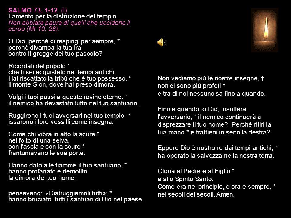 SALMO 73, 1-12 (I) Lamento per la distruzione del tempio Non abbiate paura di quelli che uccidono il corpo (Mt 10, 28).