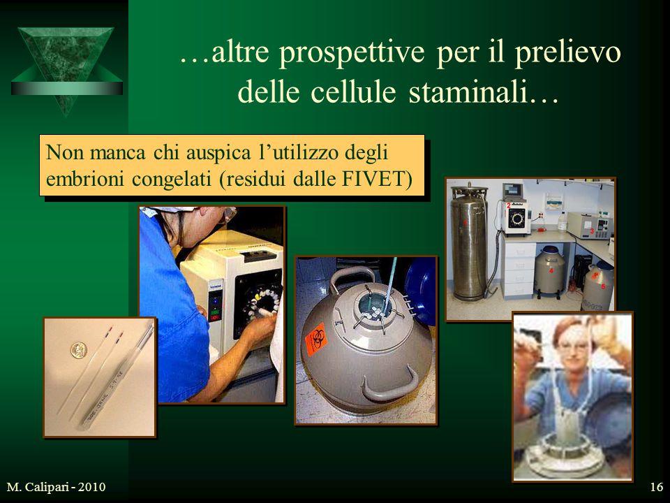 M. Calipari - 201016 Non manca chi auspica l'utilizzo degli embrioni congelati (residui dalle FIVET) …altre prospettive per il prelievo delle cellule