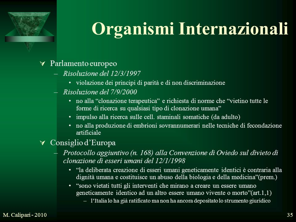 M. Calipari - 201035 Organismi Internazionali  Parlamento europeo –Risoluzione del 12/3/1997 violazione dei principi di parità e di non discriminazio