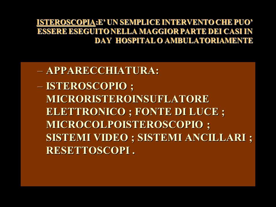ISTEROSCOPIA:E' UN SEMPLICE INTERVENTO CHE PUO' ESSERE ESEGUITO NELLA MAGGIOR PARTE DEI CASI IN DAY HOSPITAL O AMBULATORIAMENTE –APPARECCHIATURA: –ISTEROSCOPIO ; MICRORISTEROINSUFLATORE ELETTRONICO ; FONTE DI LUCE ; MICROCOLPOISTEROSCOPIO ; SISTEMI VIDEO ; SISTEMI ANCILLARI ; RESETTOSCOPI.