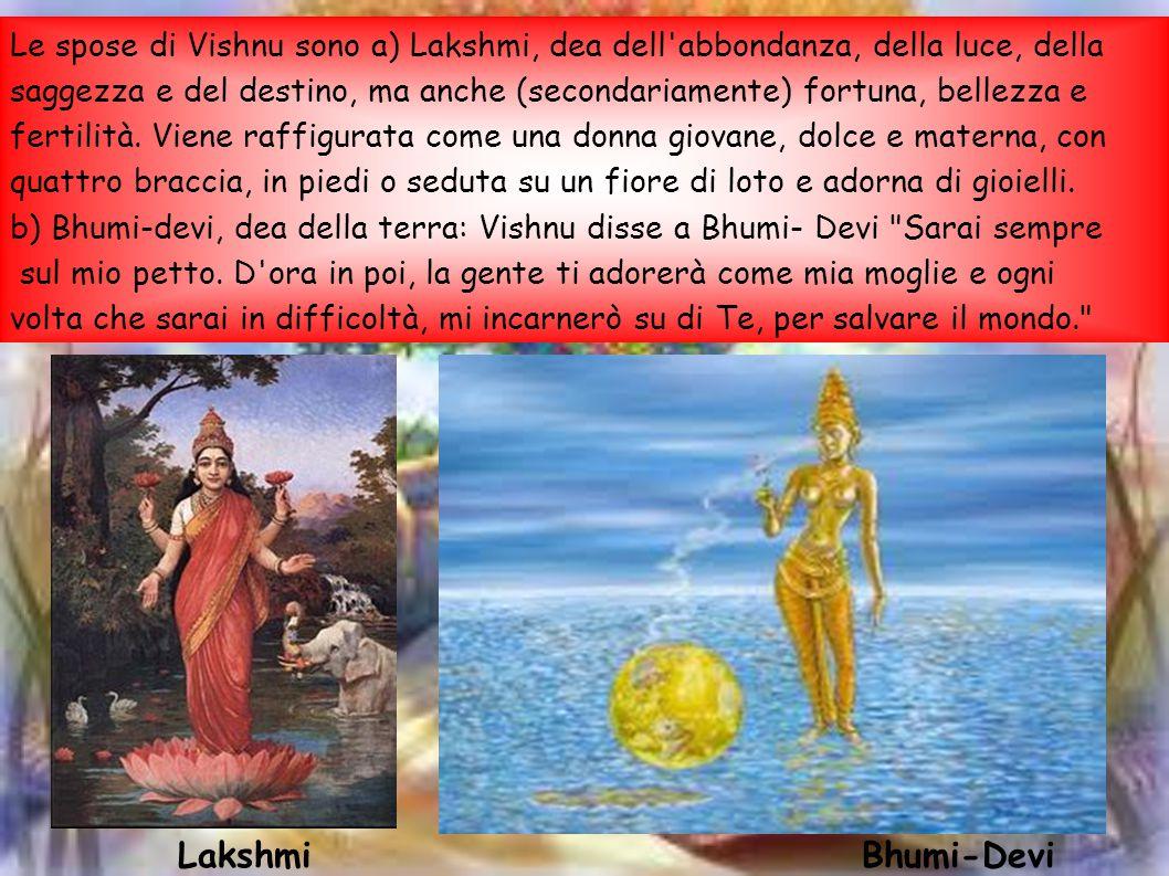 Le spose di Vishnu sono a) Lakshmi, dea dell'abbondanza, della luce, della saggezza e del destino, ma anche (secondariamente) fortuna, bellezza e fert