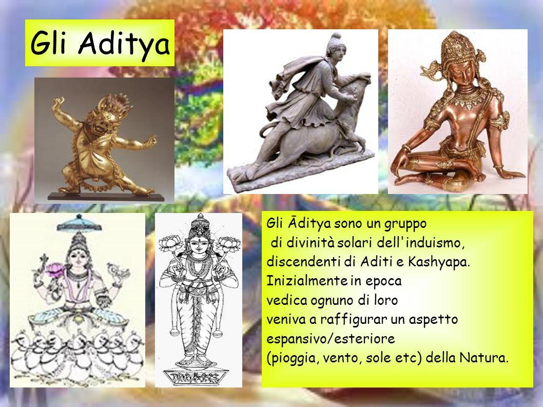 Gli Āditya sono un gruppo di divinità solari dell'induismo, discendenti di Aditi e Kashyapa. Inizialmente in epoca vedica ognuno di loro veniva a raff
