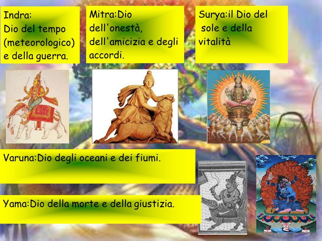 Indra: Dio del tempo (meteorologico) e della guerra. Mitra:Dio dell'onestà, dell'amicizia e degli accordi. Surya:il Dio del sole e della vitalità Varu