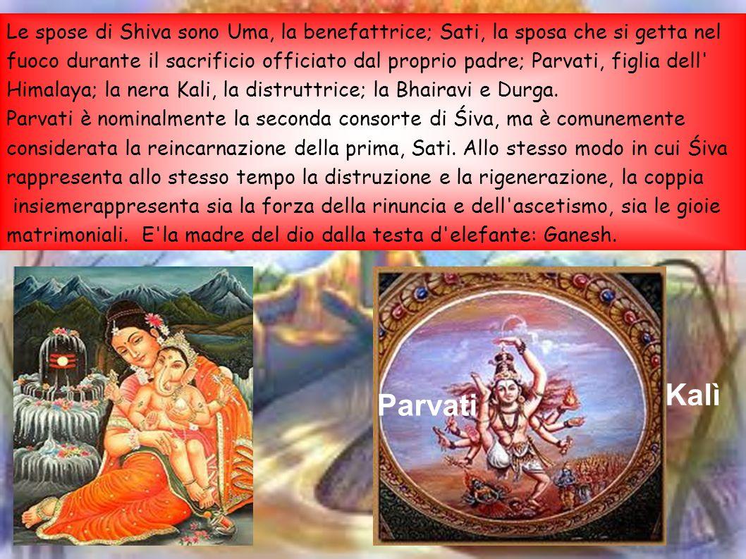 Le spose di Shiva sono Uma, la benefattrice; Sati, la sposa che si getta nel fuoco durante il sacrificio officiato dal proprio padre; Parvati, figlia