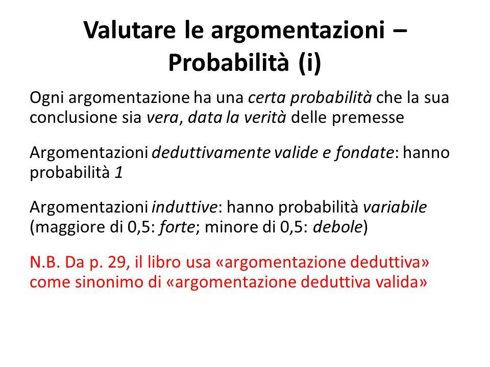 Valutare le argomentazioni – Probabilità (i) Ogni argomentazione ha una certa probabilità che la sua conclusione sia vera, data la verità delle premes
