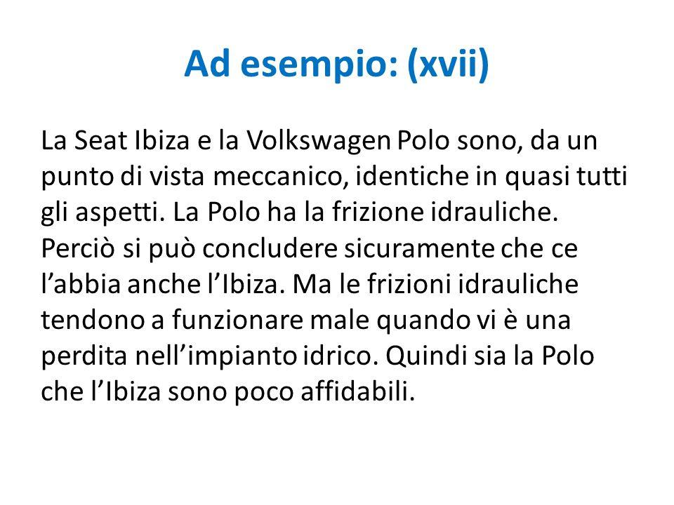 Ad esempio: (xvii) La Seat Ibiza e la Volkswagen Polo sono, da un punto di vista meccanico, identiche in quasi tutti gli aspetti. La Polo ha la frizio