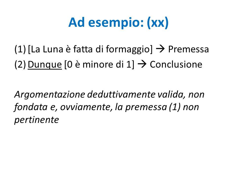 Ad esempio: (xx) (1)[La Luna è fatta di formaggio]  Premessa (2)Dunque [0 è minore di 1]  Conclusione Argomentazione deduttivamente valida, non fond