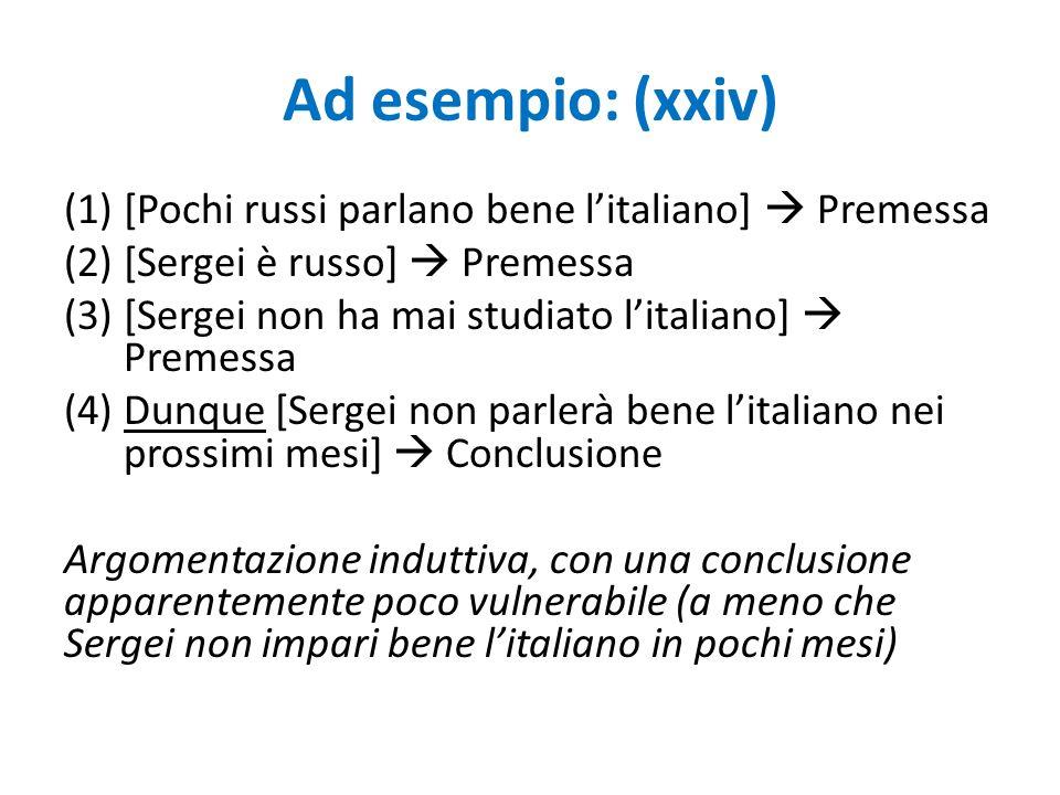 Ad esempio: (xxiv) (1)[Pochi russi parlano bene l'italiano]  Premessa (2)[Sergei è russo]  Premessa (3)[Sergei non ha mai studiato l'italiano]  Pre