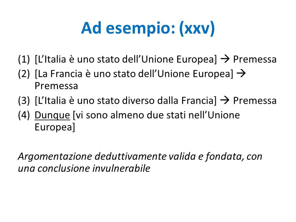 Ad esempio: (xxv) (1)[L'Italia è uno stato dell'Unione Europea]  Premessa (2)[La Francia è uno stato dell'Unione Europea]  Premessa (3)[L'Italia è u